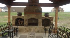 Oklahoma Flagstone Fireplace Cedar Cabana