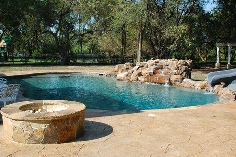 Pool & Spa with Rock Waterfall