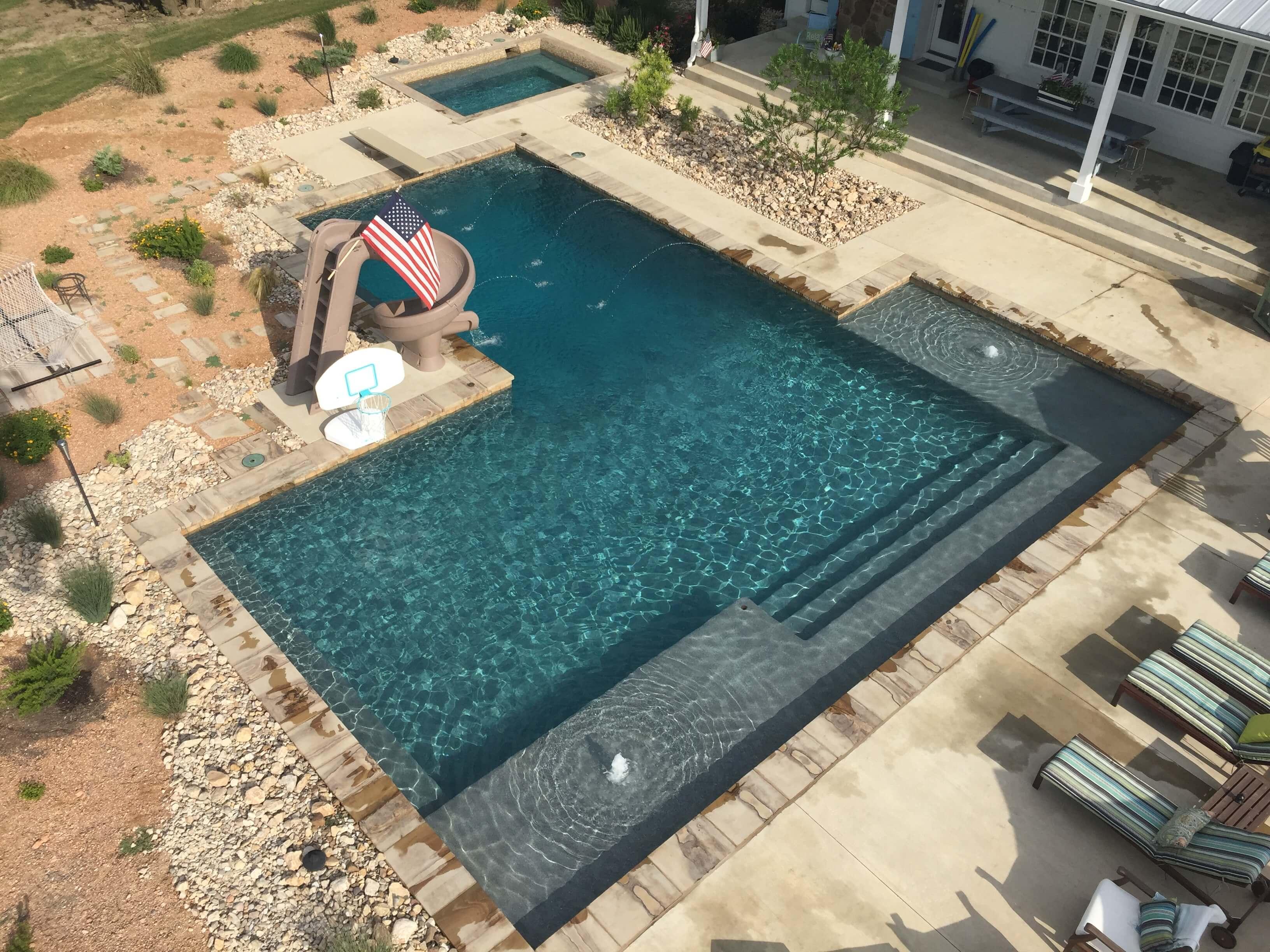 Overhead Geometric Pool with Custom Deck