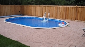 Above Ground Pool Stamped Concrete