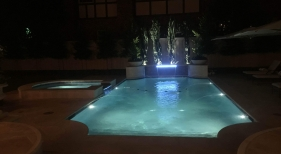 Geometric Pool & Spa with LED Lights and Sheer Descent