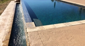 Geometric Pool & Spa with Tanning Ledge & Spillover