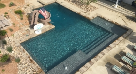 Overhead Geometric Pool with Custom Deck