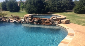Pool & Spa with Rock Waterfalls